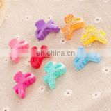 New design candy color cute plastic baby hair bow clips