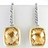 Gold Plated Sterling Silver 8x10mm Citrine Noblesse Earrings(E-040)