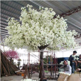 Real-touch silk white leaves artificial cherry blossom tree for decoration