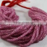 Wholesale Good Quality Pink Sapphire Smooth Roundelle Beads