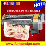 Funsunjet FS3202G 3.2m / 10ft wide format printer with dx5 head for SAV adhesive vinyl sticker printing 1440dpi