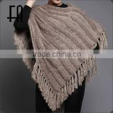 Factory direct wholesale price rabbit knitted pullover with wool knit /rabbit knitted fur cape