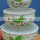 Factory directly sell porcelain bowl with plastic lid 3 pcs food storage bowl set-white flower