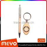 Official golden olive shape key ring with click pen ball point lot set for gift