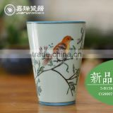 350ml porcelain coffee mugs with handpainted flower & Birds