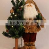 XM-A6033 20 inch standing brown santa hugging 24 inch lighted tree for Christmas decoration