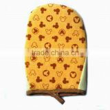 100% polyester designer bath mitt cartoon design popular body cleaning glove for bathroom set