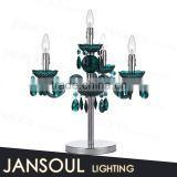 chinese modern cordless green crystal 4 candelabra lights chandelier table lamp magnifying glass