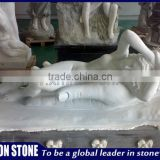 Classical nude girl white marble statue