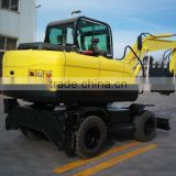 China brand mini wheel excavator with CE supply wheel excavator with, joystick,hammer and A/C
