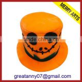 Yiwu Factory Direct Sale Custom Halloween Party Make Velour Pumpkin Yellow Halloween Hat