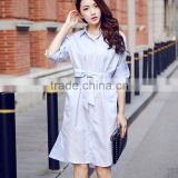 Plus Size Women Long Sleeve Lapel Neck Office Shirt Dress With Belt OEM Type ODM Manufacturer Clothes Factory Guangzhou