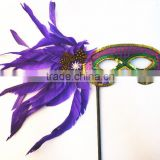 Fashion One side multi color feather party cosplay sequin flower feather mask