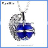 Blue Enamel Rhinestones Pave Maple Leaf Musical Chime Bell Box Angel Wing Harmony Pregnancy Necklaces BAC-M036