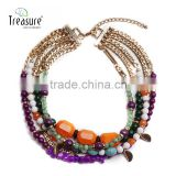 Fashion jewelry Wholesale statement fashion multi-layer colorful acrylic bead necklace