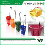 Hot sell good cheap 31 Liter HDPE red color double handle roll shopping plastic vegetable basket with wheels (YB-W010)