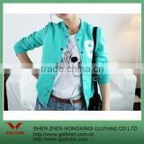 Comfortable Cotton Blue-Green baseball jacket