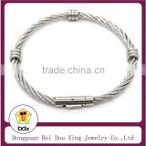 China Factory Supply Fashion High Quality 316L Stainless Steel Screw Wire Cuff Mens Bangle Bracelet Cable With Magnetic Clasp