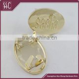 Oval metal tags wholesale, metal logo tags for handbags, custom handbag metal charm gold plated tags                                                                         Quality Choice