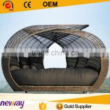 Best Selling PE Rattan Wicker Daybed Beach Outdoor Furniture Round Sofa Set                                                                         Quality Choice