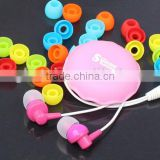 colorful !for girls in ear earbuds high quality wired earphones cute design with telescopic box