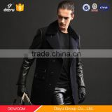 Motorcycle leather jacket with 100% wool fabric Plus Size Mens Winter Wool Duffle Coat leather man coat
