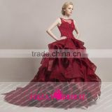 HT52 New Style Elegant O Neck Sleeveless Long Red Prom Dress Ball Gown Applique Beaded Floor Length Vestido De Renda