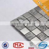 LJ JY-Mx-SM03 Grey Natural Slate Mosaic Tile Backsplash Stainless Steel Mix Stone Mosaic Tile