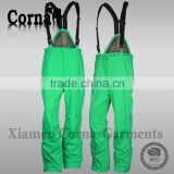 OEM service BSCI audit men elastic belt ski pants green waterproof outdoor cheap trousers