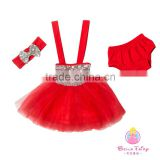 Red sequin girls summer party dress baby fashion clothes designer one piece party dresses