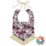 Cotton Floral Adjustable Strape Tassel Baby Girls Bandana Drool Bibs