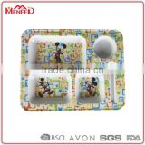 Wholesale food contact mouse printing 3 sections with cup holder children lunch tray, melamine kids compartment plate