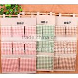 Hot sell ZAKKA cotton lattice eight pocket organizer wall mount storage bag s storage bags, Multifunctional Storage Bag