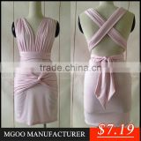 MGOO Top Express Selling OEM Pink Bandage Dress Fashion V neck Cotton Dress Sexy Bodycon Women Dress 00581