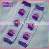 Printing purple ice cream leggings knee high knitted cotton leg warmers wholesale baby socks