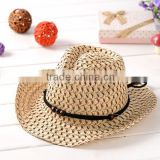 Promotional children Summer Straw Hat western style Summer straw cowboy Hat for Kids Summer Hat 8colors for sale