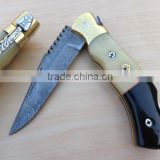 "udk f226"" custom handmade Damascus folding knife / pocket knife with brass bolster and Camel bone and horn handle"