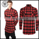 2016 Autumn 100% Cotton Side Zip Red and Black Longline Elongated Plaid Mens Flannel T Shirts