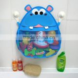 Customized polyester mesh Bath tub toy holder Hippo bath toy organizer Kids bath toys organizer