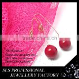 2015 Fashion winter latest design 925 sterling silver yellow gold plate red seed double sides pearl earrings for ladies