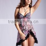 Newest arrival novel sexy colorful flower pattern pregnant lingeries babydolls 5160
