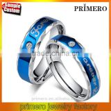 Forever Love Blue Couple Ring Set 316L Stainless Steel Jewelry His and Hers Matching Engagement Ring New Model Wedding Band