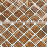 "0.88""x0.88"" brown goldline glass mosaic tiles for bisazza mosaic wall decoration"