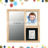 Hotsale mirror frame with handprint baby toys wood