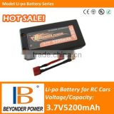 Radio control car li polymer 3.7V rechargeable battery for RC cars, 3.7V5200mAh battery with high discharge rate