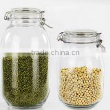 clamp and clear glass jar with lid