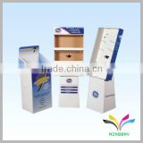 China supplier custom recyclable 3 tiers painting unique floor standing cardboard cosmetic shelving rack