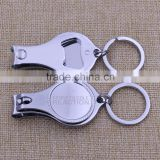 Custom metal toe nail clippers/ blank nail clipper with bottle opener keychain