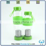 High quality brosilicate Glass water bottle with tea infuser