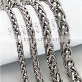 Alibaba express hot sale wholesale silver gold two tone stainless steel braided chain